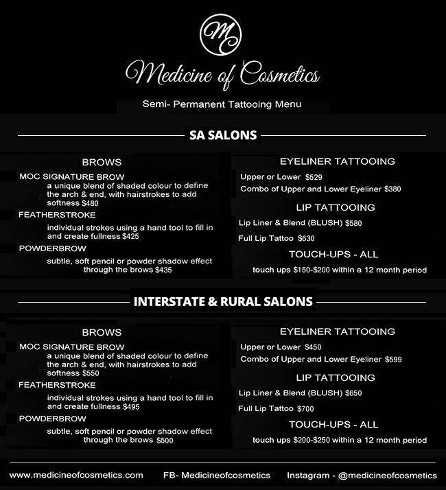 Medicine of Cosmetics - Mobile Salon Price List